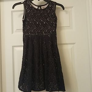 Size 12 girls black and cream colored dress